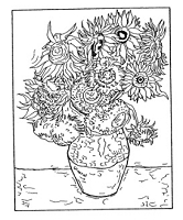 Frantic Stamper Cling-Mounted Rubber Stamp - Van Gogh Sunflowers