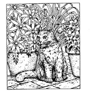 Frantic Stamper Cling-Mounted Rubber Stamp - Sm Cat in Flowers