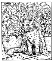 Frantic Stamper Cling-Mounted Rubber Stamp - Lg Cat in Flowers