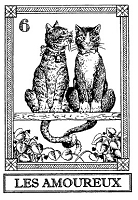 Frantic Stamper Cling-Mounted Rubber Stamp - Cat Tarot Card - Les Amoureux