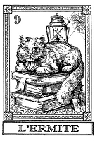 Frantic Stamper Cling-Mounted Rubber Stamp - Cat Tarot Card - L'Ermite