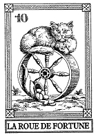 Frantic Stamper Cling-Mounted Rubber Stamp - Cat Tarot Card - La Roue de Fortune