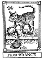 Frantic Stamper Cling-Mounted Rubber Stamp - Cat Tarot Card - Temperance