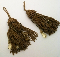 String and Bead Tassels - 2 Per Package - Camel