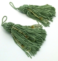 String and Bead Tassels - 2 Per Package - Sage