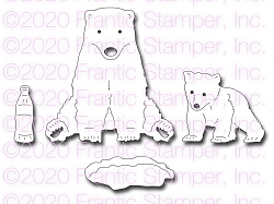 Frantic Stamper Precision Die - Sitting Polar Bear & Cub