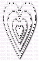 Frantic Stamper Precision Die - Stitched Primitive Hearts