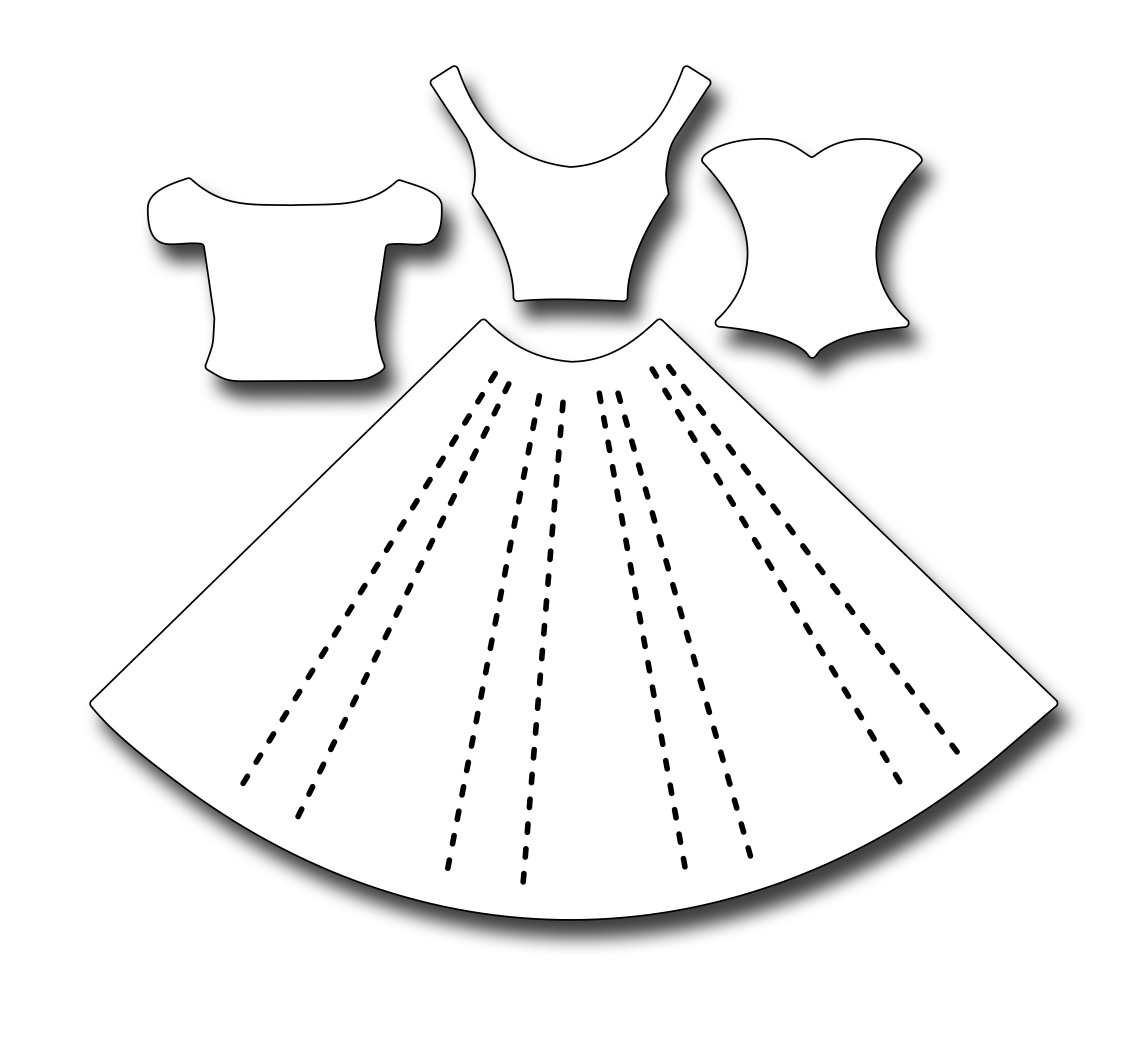 Картинка трафарет платья из моря