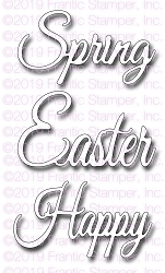Frantic Stamper Precision Die - Script Spring and Easter Greetings