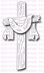 Frantic Stamper Precision Die - He Is Risen Wooden Cross