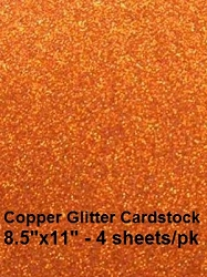 Frantic Stamper - Glitter Cardstock - Copper (4 sheets 8.5