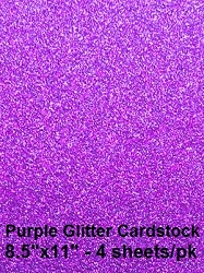 Frantic Stamper - Glitter Cardstock - Purple (4 sheets 8.5