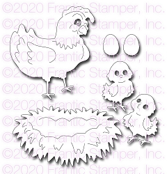 Frantic Stamper Precision Die - Cute Chicken Family
