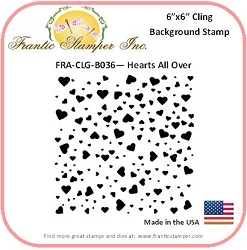 Frantic Stamper - 6x6 Background Rubber Stamp - Hearts All Over