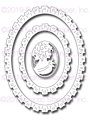 Frantic Stamper Precision Die - Ruffled Oval Frames & Cameo