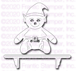 Frantic Stamper Precision Die - Cute Elf and his shelf