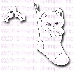 Frantic Stamper Precision Die - Kitten in a stocking