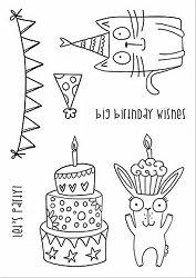 Funky Fossil - A6 Clear Stamp - Let's Party