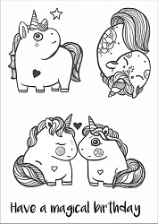 Funky Fossil - A6 Clear Stamp - Chubby Unicorns
