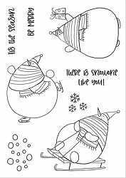 Funky Fossil - A6 Clear Stamp - Silly Snowmen