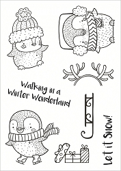 Funky Fossil - A6 Clear Stamp - Festive Penguins