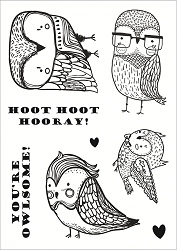 Funky Fossil - A6 Clear Stamp - Quirky Owls