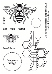 Funky Fossil - A6 Clear Stamp - Bee Geometric