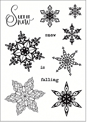 Funky Fossil - A6 Clear Stamp - Filigree Flakes