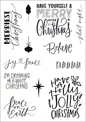 Funky Fossil - A5 Clear Stamp - Festive Phrases