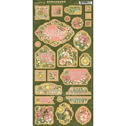 Graphic 45 - Garden Goddess Collection - Chipboard Decorative & Journaling Tags