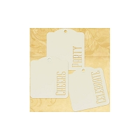 Graphic 45 - Staples - Die-Cut Cardstock Tags W/Metal Ring - Ivory Cheers Party Celebrate - 9/Pkg