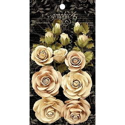 Graphic 45 - Staples - Rose Bouquet Classic Ivory & Natural Linen Flowers