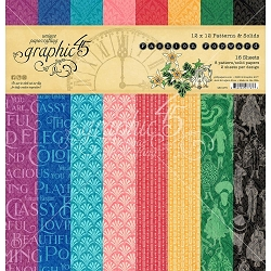 Graphic 45 - Fashion Forward Collection - 12x12 Patterns & Solids Paper Pad