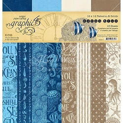 Graphic 45 - Ocean Blue Collection - 12x12 Patterns & Solids Paper Pad