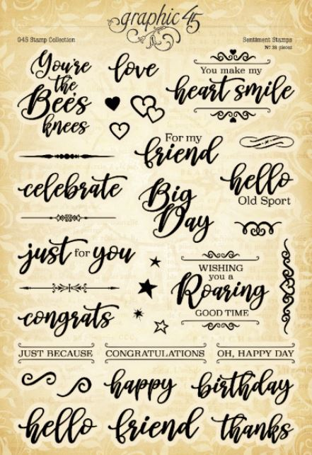 Graphic 45 Sweet Sentiment 3 G45 Cling Stamp