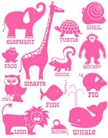 Hambly studios rub ons - Classic Animals Pink