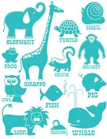 Hambly studios rub ons - Classic Animals Teal Blue