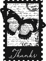 Hampton Arts - Hot Fudge Studio Wood Mounted Stamp -Thanks Butterfly Collage