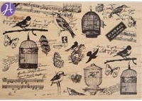 Hampton Art - 7 Gypsies - Wood Mounted Stamp - Bird Watching