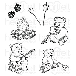 Heartfelt Creations - Beary Fun Retreat Collection - Beary Fun Retreat Cling Stamp Set
