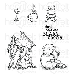Heartfelt Creations - Beary Fun Retreat Collection - Happy Time Tree House Cling Stamp Set