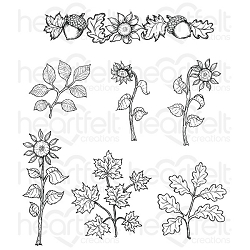 Heartfelt Creations - Beary Fun Retreat Collection - Sunflower Accents Cling Stamp Set
