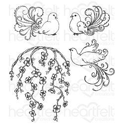Heartfelt Creations - Flowering Dogwood Collection - Flowering Dogwood & Doves Cling Stamp Set