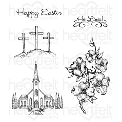 Heartfelt Creations - Flowering Dogwood Collection - Dogwood Chapel Cling Stamp Set