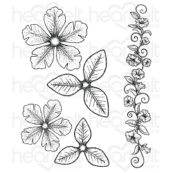 Heartfelt Creations - Classic Petunia Collection - Large Classic Petunia Cling Stamp Set