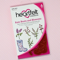 Heartfelt Creations - Singing In The Rain Collection - Rain Boots and Blossoms Cling Stamp Set