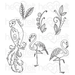 Heartfelt Creations - Tropical Paradise Collection - Tropcial Paradise Cling Stamp Set
