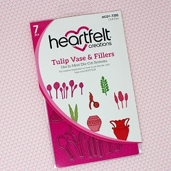 Heartfelt Creations - Cutting Die - Tulip Time Collection - Tulip Vase & Fillers Die