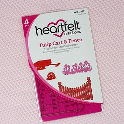 Heartfelt Creations - Cutting Die - Tulip Time Collection - Tulip Cart & Fence Die