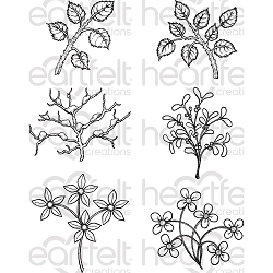 Heartfelt Creations - Winter's Eve Collection - Window Box Fillers Cling Stamp Set